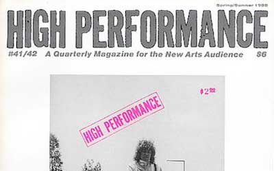 High Performance #41/2 Vol. XI, Nos. 1/2, 1988